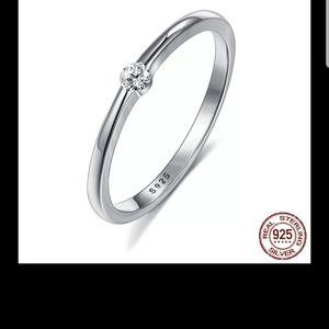 ⬇️NEW REAL STERLING SILVER RING 5A CLEAR ZIRCONIA